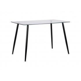 Стол обеденный Умберто черный/стекло прозрачное