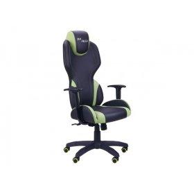 Кресло VR Racer Zeus черный, PU черный/зеленый