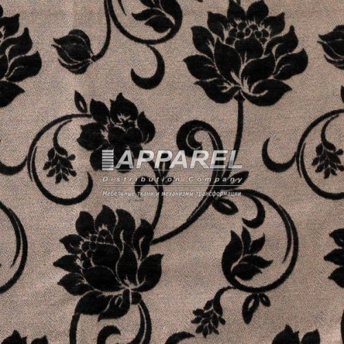 Ткань Шенилл Bruksel flowers black