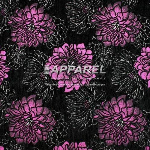 Ткань Шенилл Hrizantem flowers blask fiolet