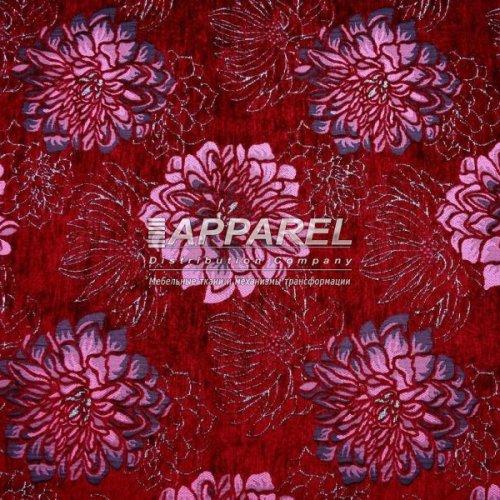 Ткань Шенилл Hrizantem flowers bordo