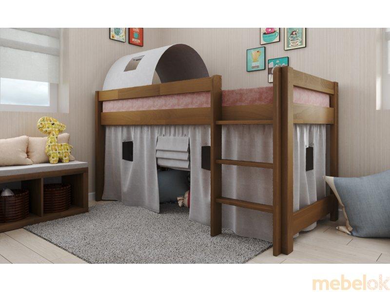 Кровать-чердак Адель бук 90х190 с другого ракурса