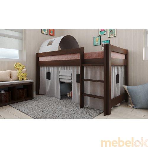кровать с видом в обстановке (Кровать-чердак Адель бук 90х190)