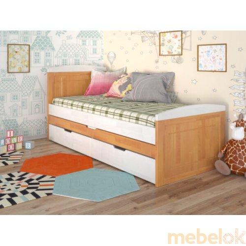 кровать с видом в обстановке (Кровать Компакт сосна 80x200)