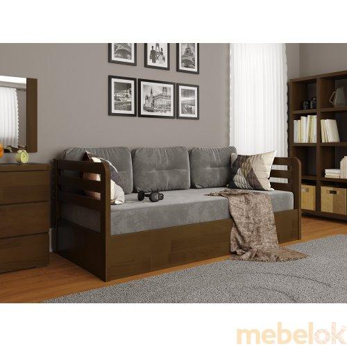 кровать с видом в обстановке (Кровать Немо Люкс сосна 80x190 с подъемным механизмом)