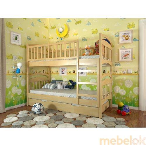 Двухъярусная кровать Смайл сосна 90х200