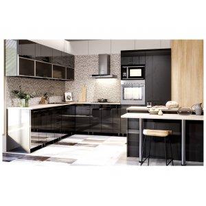 Кухня Бьянка глянец черный (2,8х2,95 м)