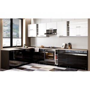 Кухня Бьянка глянец черный/глянец белый (2,15х3,4 м)