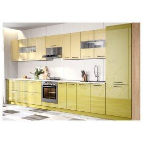 Угловая кухня Бьянка Глянец зеленый/ваниль