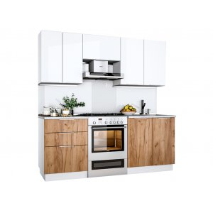 Кухня Флоренц глянец белый/дуб крафт (2,0 м)