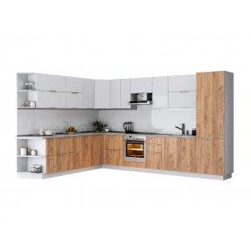 Кухня угловая Флоренц глянец белый/дуб крафт