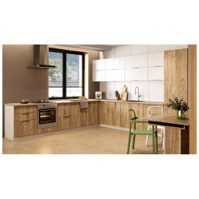 Кухня угловая Флоренц глянець белый/дуб крафт 1