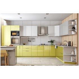 Угловая кухня Орландо Глянец зеленый/белый