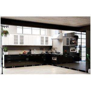Кухня София глянец черный/глянец белый (3,8х3,95 м)