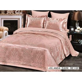 Двуспальное жаккардовое постельное белье Arya Jolanda темно-коричневое 200х220