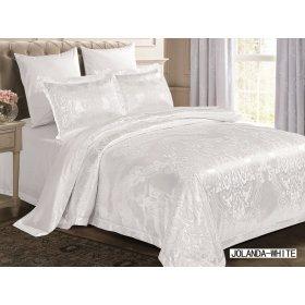 Двуспальное жаккардовое постельное белье Arya Jolanda белое 200х220