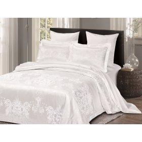 Двуспальное жаккардовое постельное белье Arya Pietra белое 200х220
