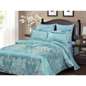 Двуспальное жаккардовое постельное белье Arya Pietra бирюзовое 200х220