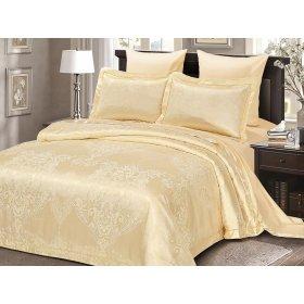 Двуспальное жаккардовое постельное белье Arya Pietra кремовое 200х220