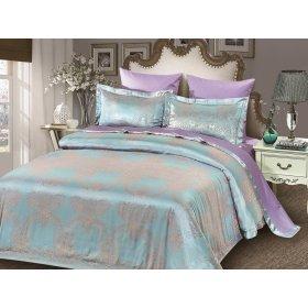 Двуспальное жаккардовое постельное белье Arya Ricco голубое 200х220