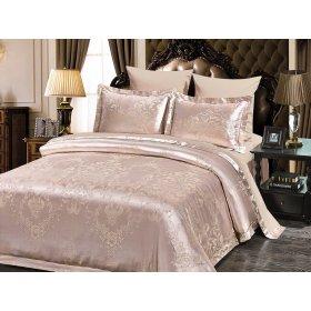 Двуспальное жаккардовое постельное белье Arya Romano бежевое 200х220