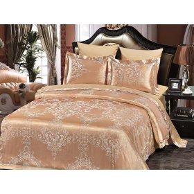 Двуспальное жаккардовое постельное белье Arya Romano песочное 200х220