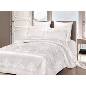 Двуспальное жаккардовое постельное белье Arya Savino белое 200х220
