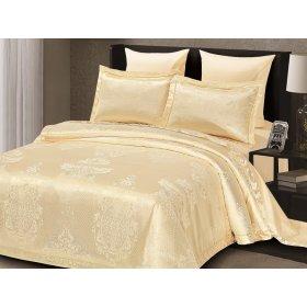 Двуспальное жаккардовое постельное белье Arya Savino кремовое 200х220