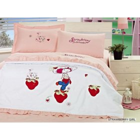 Постельное белье Arya Strawberry Girl сатин с вышивкой 160х220