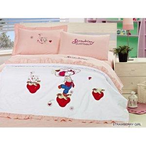 Постельное белье Arya Strawberry Girl сатин с вышивкой 160х220