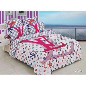 Двуспальное постельное белье Arya Fashion Ampelio печатное 200х220