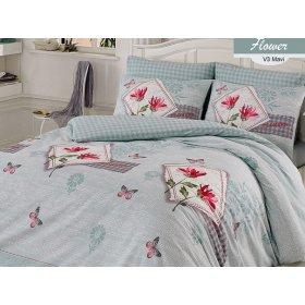 Полуторный комплект постельного белья Arya Flower голубой 160х220