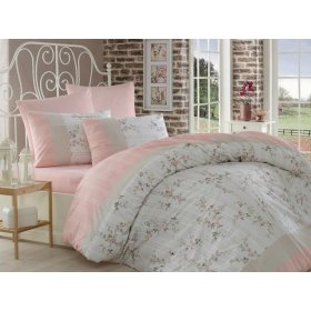 Двуспальный комплект постельного белья Arya Beril пудра 200х220