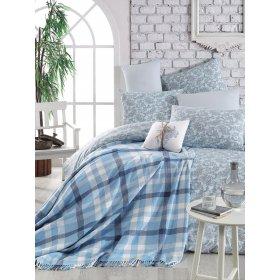 Двуспальный комплект постельного белья Arya Sguart 200х220 голубой с покрывалом