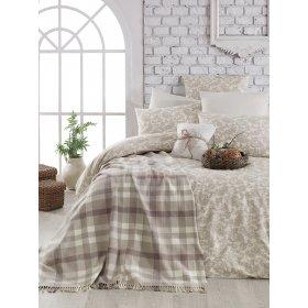 Двуспальный комплект постельного белья Arya Sguart 200х220 коричневый с покрывалом