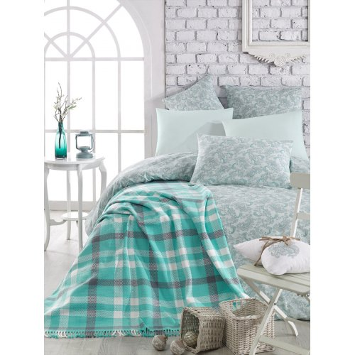Двуспальный комплект постельного белья Arya Sguart 200х220 мятный с покрывалом