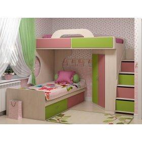 Двухъярусная кровать-чердак Dendy pink