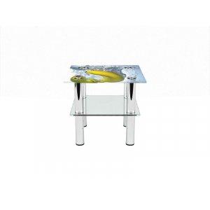Квадратный журнальный стол с полкой Banana 60х60