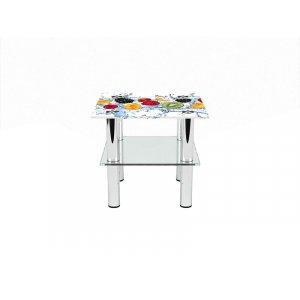 Квадратный журнальный стол с полкой Berry Mix 70х70