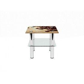 Квадратный журнальный стол с полкой Coffee 40х40