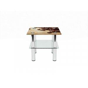 Квадратный журнальный стол с полкой Coffee 80х80