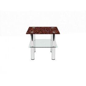 Квадратный журнальный стол с полкой Coffee aroma 40х40