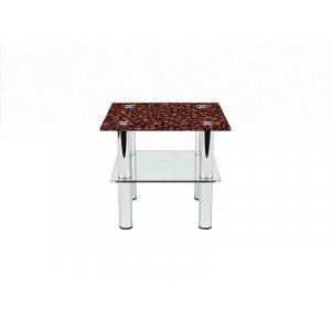 Квадратный журнальный стол с полкой Coffee aroma 60х60