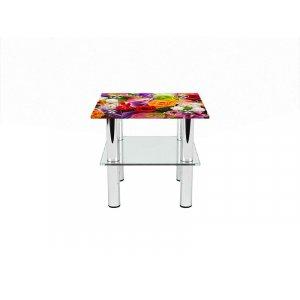 Квадратный журнальный стол с полкой Flowers 40х40