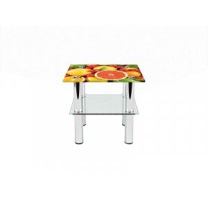 Квадратный журнальный стол с полкой Fruit 80х80
