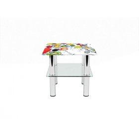 Квадратный журнальный стол с полкой Fruit Shake 40х40