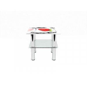 Квадратный журнальный стол с полкой Ice berry 50х50