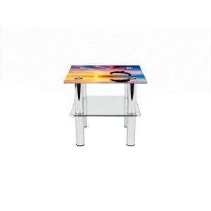 Квадратный журнальный стол с полкой Ocean 70х70