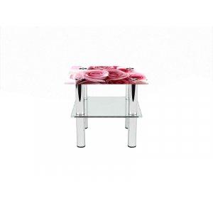 Квадратный журнальный стол с полкой Pink Roses 50х50