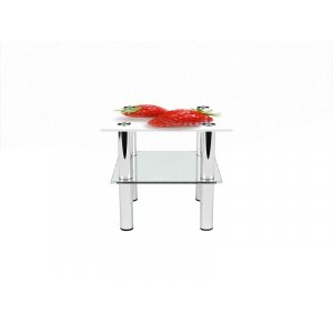 Квадратный журнальный стол с полкой Red berry 80х80
